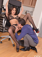Office Stud - Brunette With Big Tits Pleases Hard Working Husband free photos and videos on HandsonHardcore.com